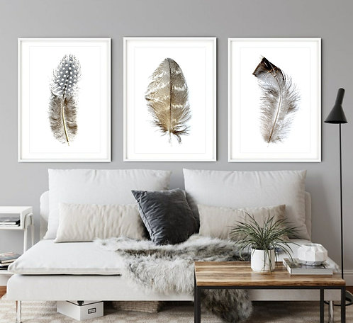 Bohemian Feather Triptych ~ Printable Digital Download therandomimage.com