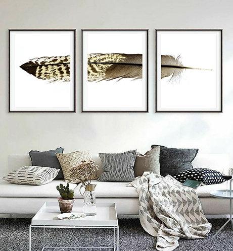 Black Cockatoo Feather Triptych ~ Printable Digital Download therandomimage.com