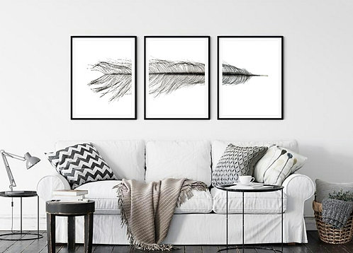 Black and White Feather Triptych~ Printable Digital Download therandomimage.com