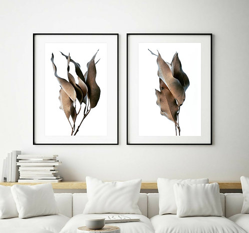 Dried Leaves Diptych ~ Printable Digital Download therandomimage.com