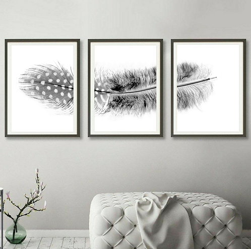 Black And White Spotted Feather Triptych ~ Set of 3 Feather Art therandomimage.com