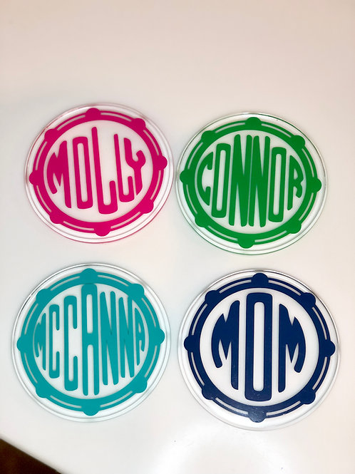 Personalized acrylic coaster set