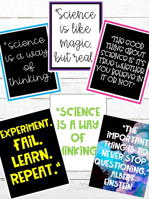 Science Quote Posters (6 Different Formats)