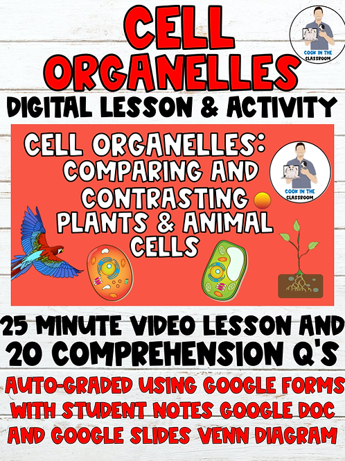 Cell Organelles Digital Lesson (Video Lesson+Auto-Graded Google Form, Notes+)