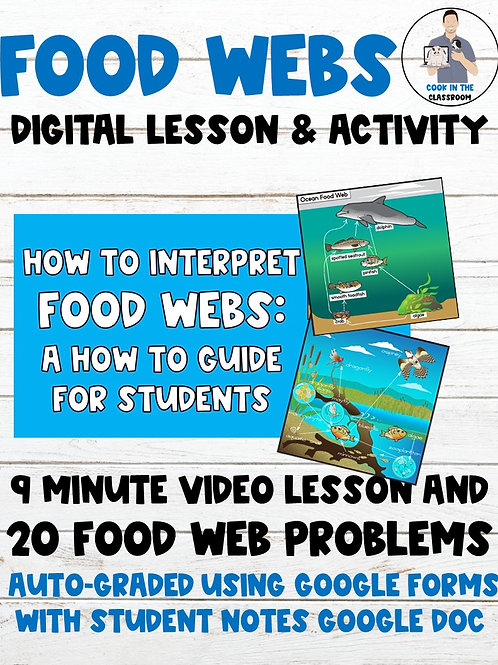 Food Webs 100% Digital Lesson & Activity (Video Lesson+Auto-Graded Google Form)