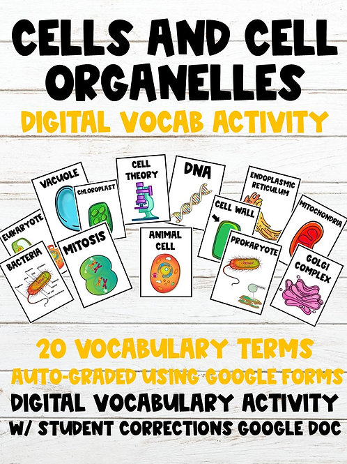 Cells & Cell Organelles 100% Digital Vocabulary Activity (For Google Classroom)
