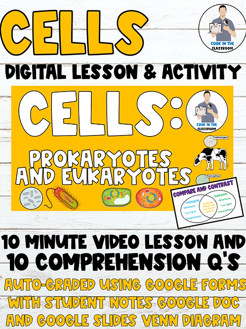 Cells Digital Lesson & Activity (Video Lesson+Auto-Graded Google Form, Notes+)