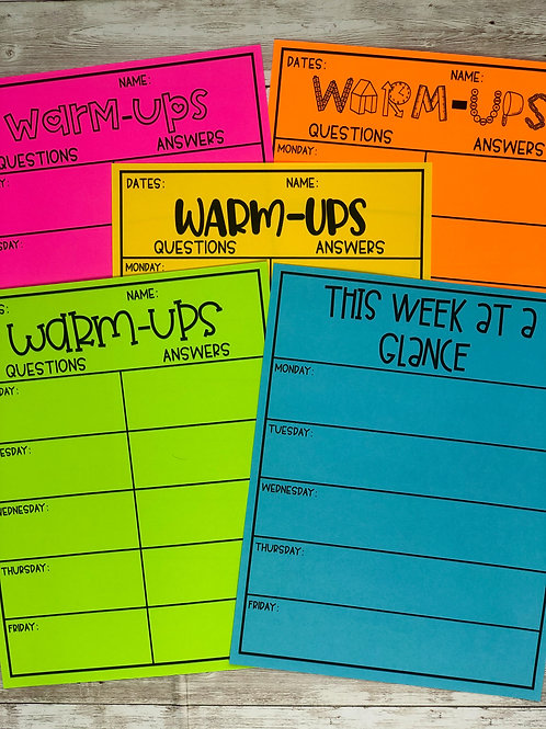 Warm Ups Weekly Worksheets (With Weekly Agenda + 12 Font Formats)