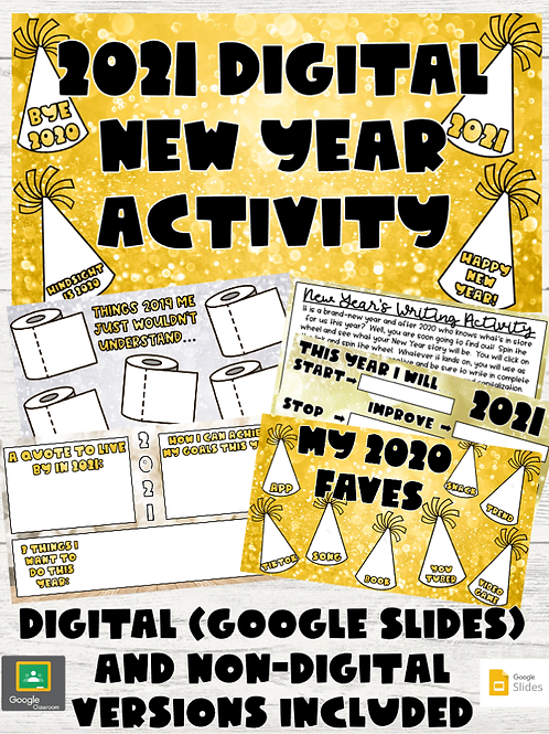 New Year Activity Set: Digital (Google Slides) and Non-Digital Versions Included
