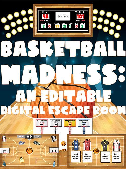 Basketball Madness: An Editable Digital Basketball-Themed Escape Room