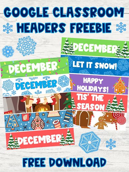 December Google Classroom Headers FREEBIE