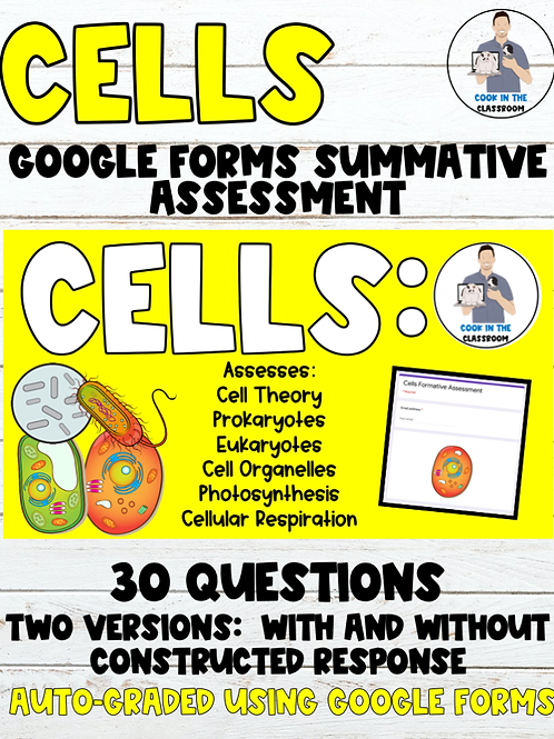 Cells Summative Digital Assessment (2 Google Forms Versions Included)