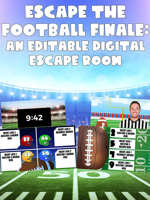 Escape the Football Finale: An Editable Football Themed Digital Escape Room