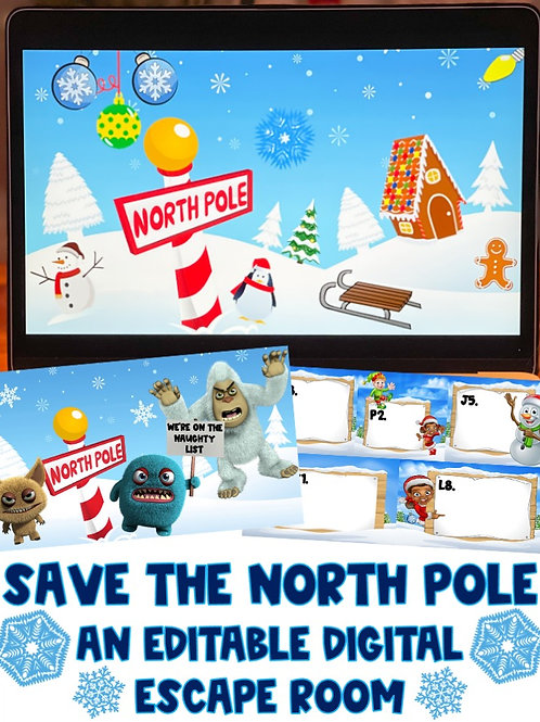 Save the North Pole: A Winter-Themed Editable Digital Escape Room