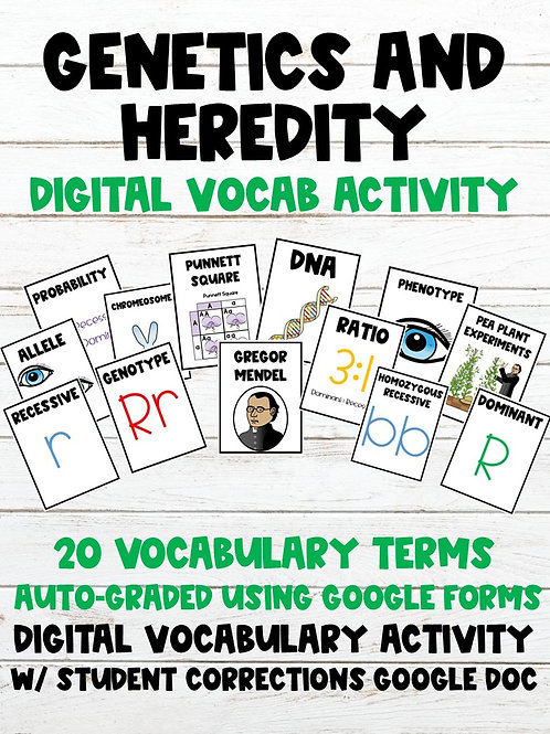 Genetics and Heredity 100% Digital Vocabulary Activity (For Google Classroom)