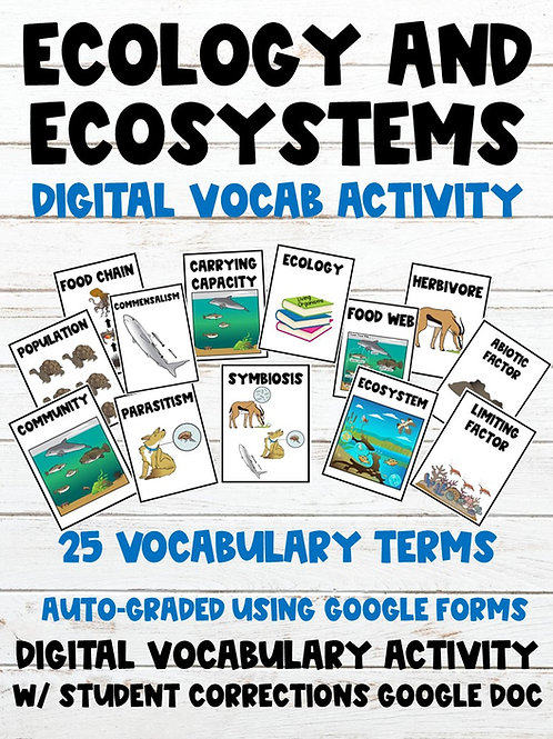 Ecosystems 100% Digital Vocabulary Activity (For Google Classroom)