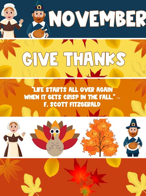 November Themed Google Classroom Headers Freebie!