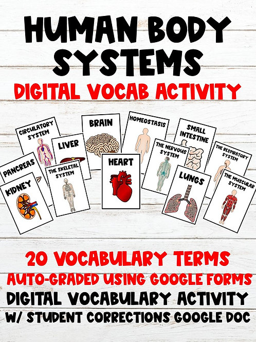 Human Body Systems 100% Digital Vocabulary Activity (For Google Classroom)