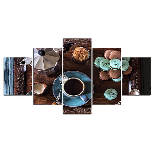Breakfast coffee and tea macarons print canvas 5 pieces