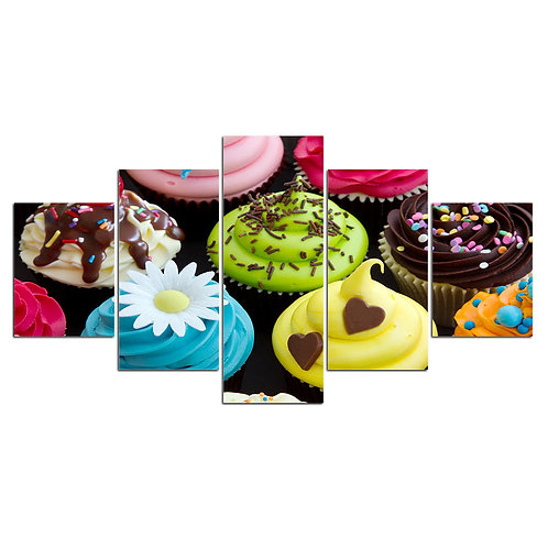 Sweets Desserts cupcakes - 5 Piece Canvas