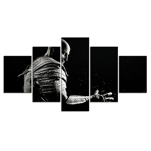 Kratos video game hero 5 piece print framed canvas wall art