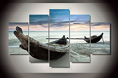 Boats on the Beach - 5 Piece Canvas Set