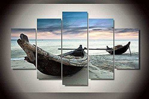 Boats on the Beach - 5 Piece Canvas Set
