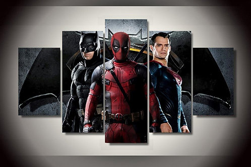 Batman, Deadpool, and Superman - 5 Piece Canvas Set
