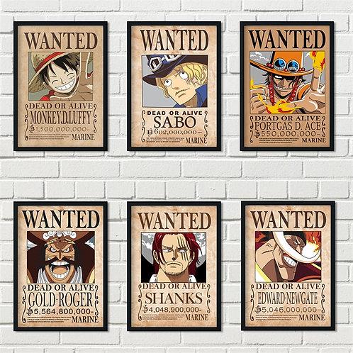 Cartoon Home Decor Wall Sticker Retro Wanted One Piece Japanese Anime Luffy