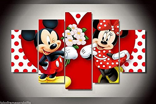 Minnie and Mickey Disney Cartoon - 5 Piece Canvas Set