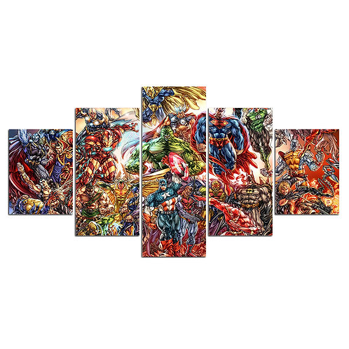 All Super Heroes - 5 Piece Canvas