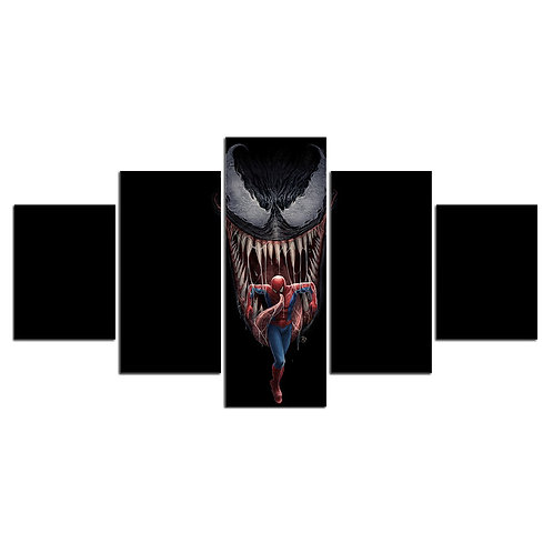 Venom vs Spiderman print canvas 5 pieces