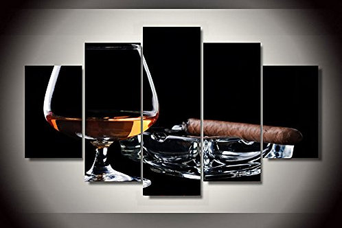 Cigar and Scotch - 5 Piece Canvas Set