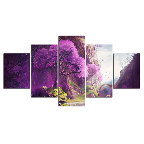 Purple Leaves Tree of Life 5 piece print framed canvas wall art