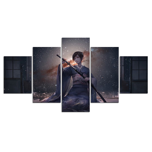 Japanese woman samurai anime - 5 Piece Canvas