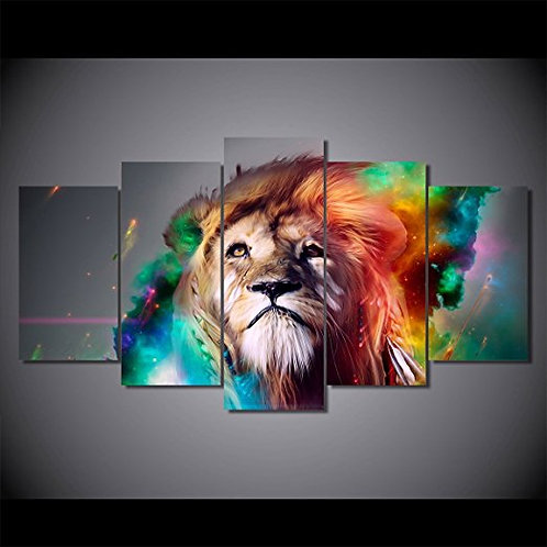 Colorful Lion - 5 Piece Canvas Set