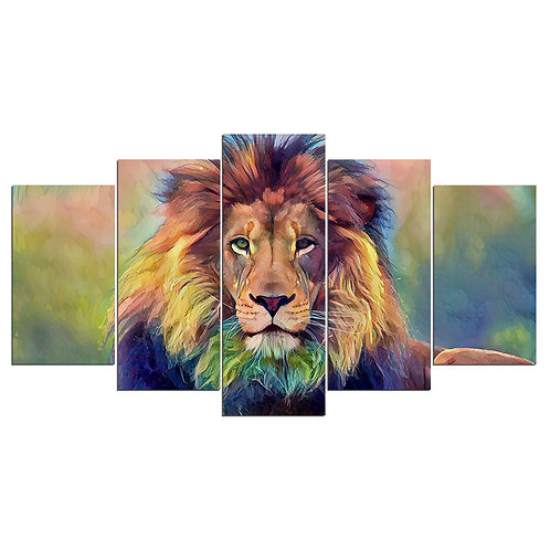 The King of the Jungle Lion - 5 Piece Canvas Set