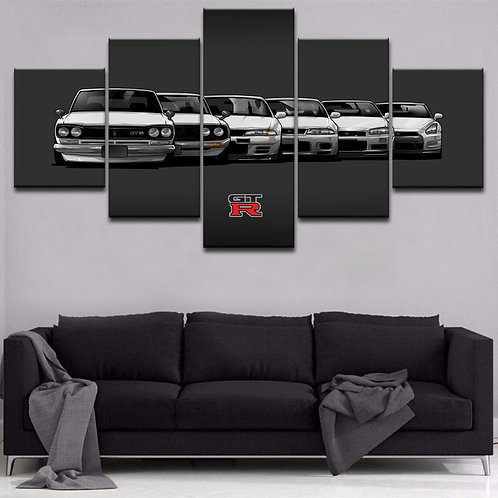 Nissan GTR generation framed print canvas 5 pieces