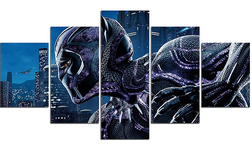 Art HD Print Canvas Home Decor Black Panther Hero 5 pieces