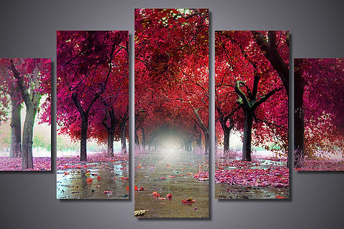 Red Trees - 5 Piece Canvas Set