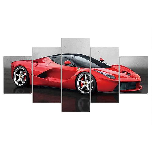 La Ferrari red super car 5 piece print framed canvas wall art