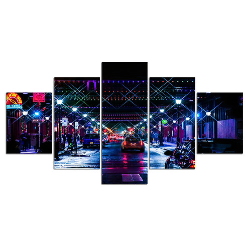 City night wall art print canvas 5 pieces