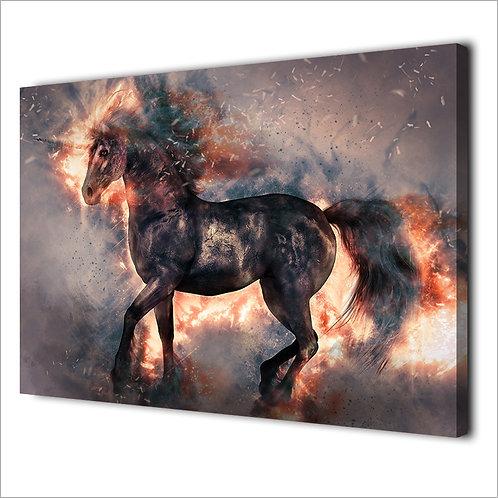 Black horse modern -1 piece canvas