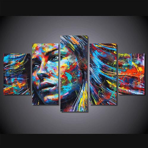 Colorful Woman - 5 Piece Canvas Set