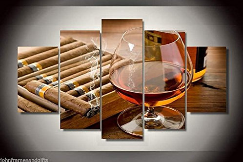 Cigar and Scotch - 5 Piece Canvas Set