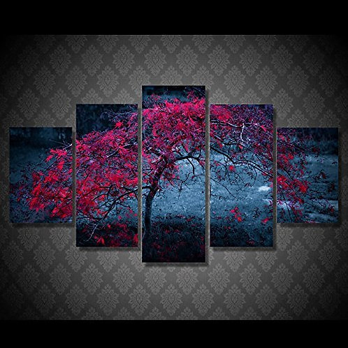 Red Tree - 5 Piece Canvas Set