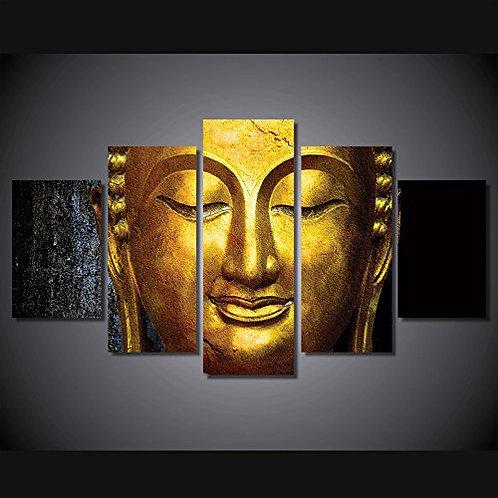 Gold Gautama Buddha - 5 Piece Canvas Set