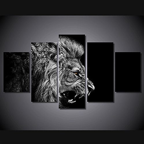 Black and White Lion - 5 Piece Canvas Set