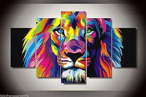 Colorful Lion - 5 Piece Canvas Set