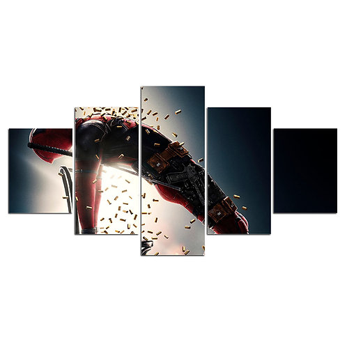 Deadpool super hero print canvas 5 pieces